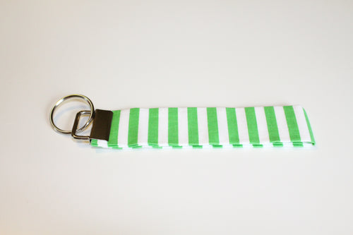 Green & White Stripe Key Wristlet - Simply L Boutique