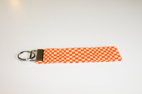 Orange & Yellow Checkerboard Key Wristlet - Simply L Boutique