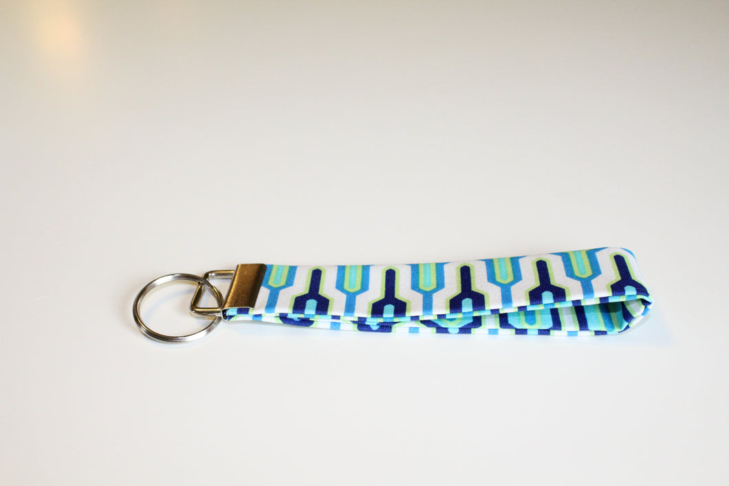 Blue Abstract Key Wristlet - Simply L Boutique