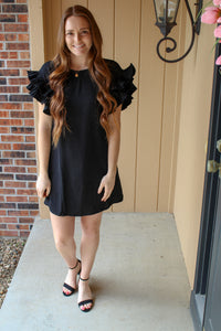 Black Ruffled Sleeve Shift Dress - Simply L Boutique