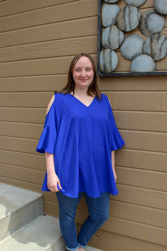 Cobalt Off the Shoulder Top (Plus) - Simply L Boutique