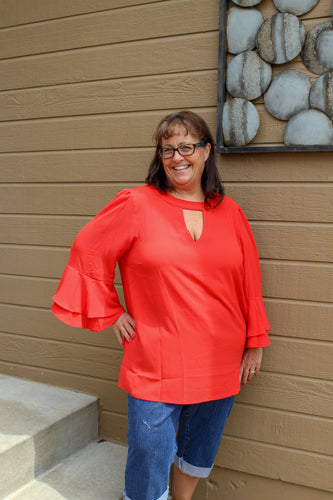 Double Ruffled Detail Top (Plus) - Simply L Boutique