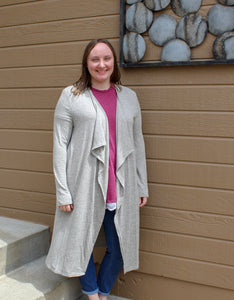 Oatmeal Long Cardigan (Plus) - Simply L Boutique