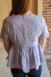 Eyelet Lace Babydoll Top - Simply L Boutique