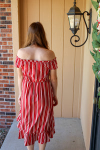 Striped Off the Shoulder Dress - Simply L Boutique