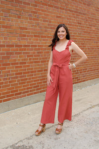 Terra Cotta Ruffle Jumpsuit - Simply L Boutique