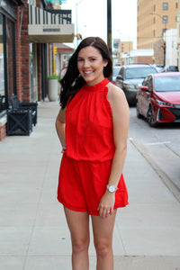 Red Ruffle Romper - Simply L Boutique