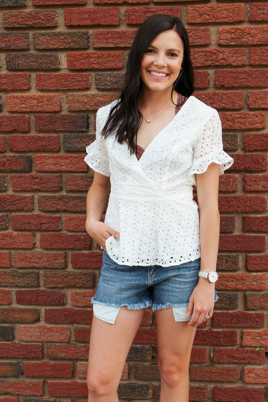 Eyelet Peplum Top - Simply L Boutique