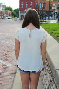 Tulip Sleeve Scallop Top - Simply L Boutique