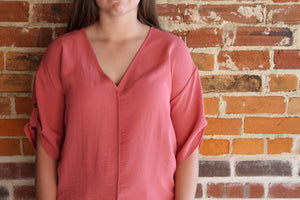 Mauve V-Neck Top - Simply L Boutique