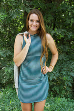 Load image into Gallery viewer, Green & White Striped Sleeveless Dress - Simply L Boutique