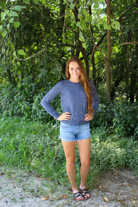 Cozy Heather Blue Sweater - Simply L Boutique