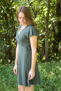 Olive Faux Wrap Dress - Simply L Boutique