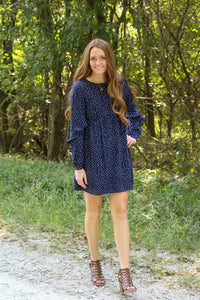 Navy Polka Dot Dress - Simply L Boutique