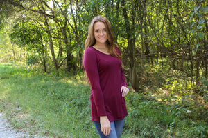 Wine Long Sleeve Tee - Simply L Boutique