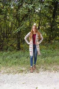 Striped Oatmeal Long Cardigan - Simply L Boutique