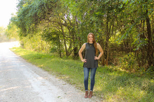 Charcoal Ribbed Tank - Simply L Boutique