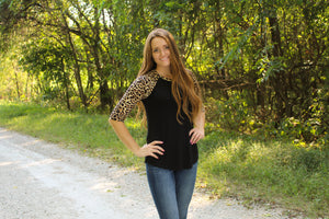 Leopard Sleeve Baseball Tee - Simply L Boutique