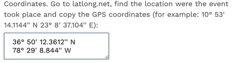 The pasted GPS coordinates
