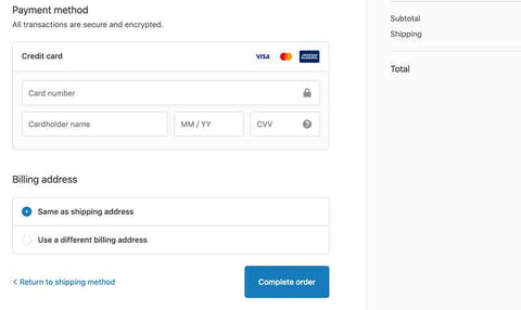 payment method page