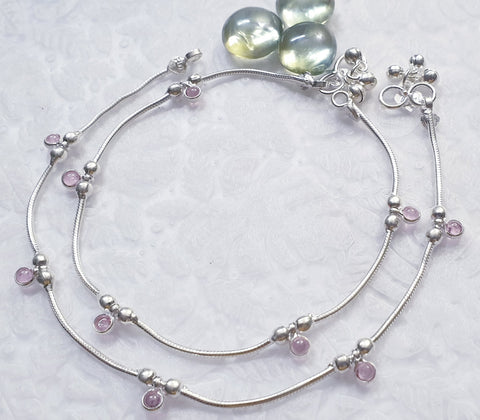 The Pink Crystal Silver Anklet