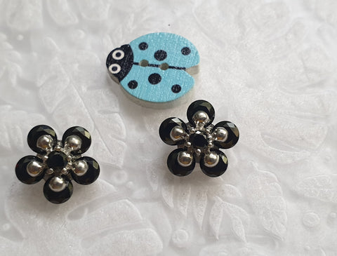 Silver Black Floral Earring