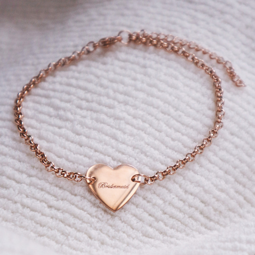 'Bridesmaid' Engraved Heart Bracelet Thank You Gift