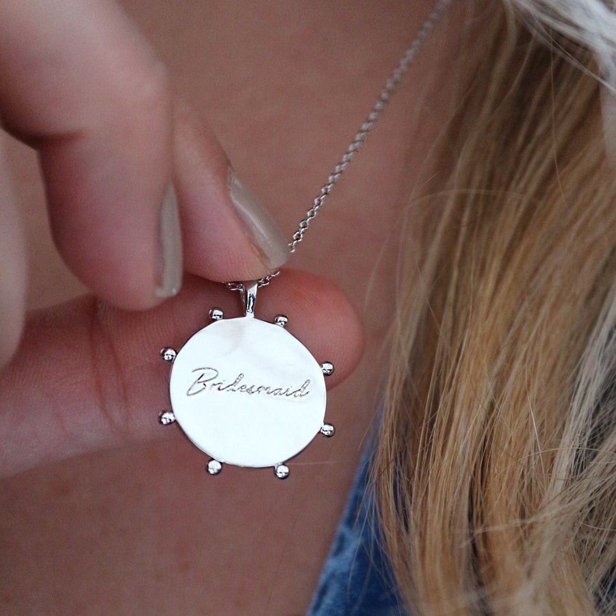 'Bridesmaid' Engraved Coin Necklace