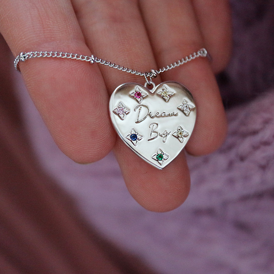 'Dream Big' Rainbow Heart Necklace