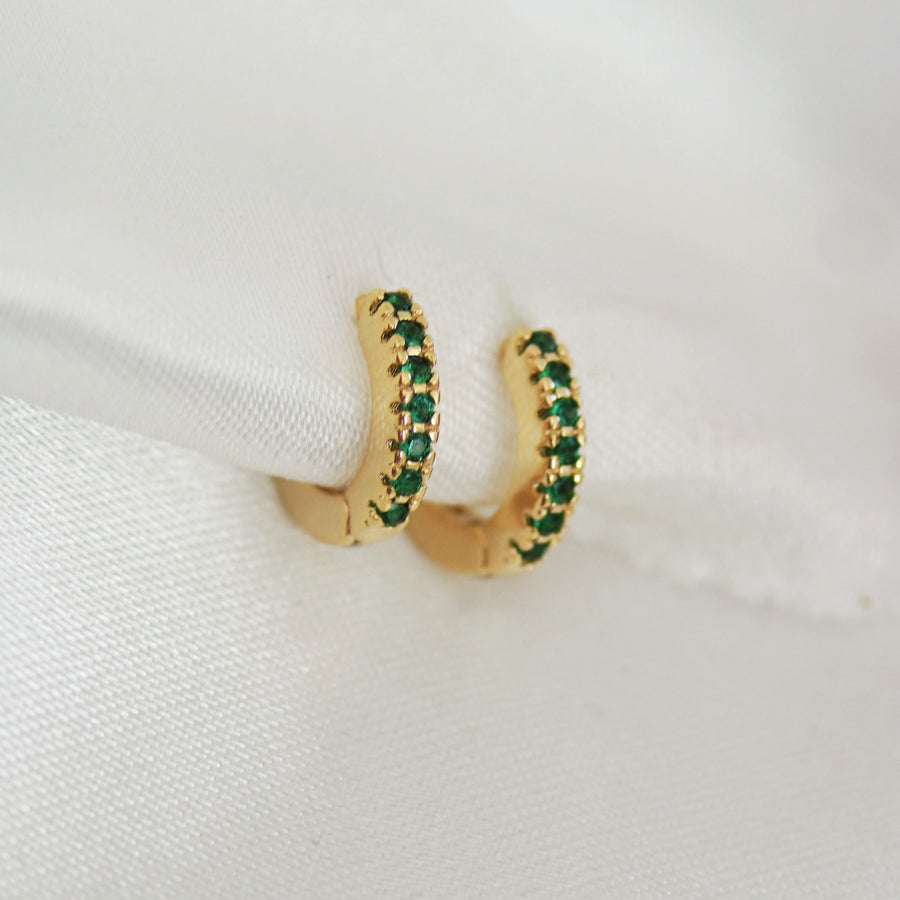 Emerald Green Huggie Hoop Earrings