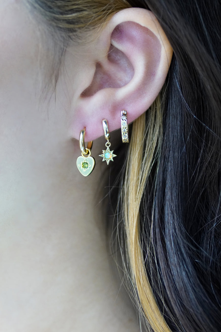 Tiny Opal Huggie Starburst Earrings