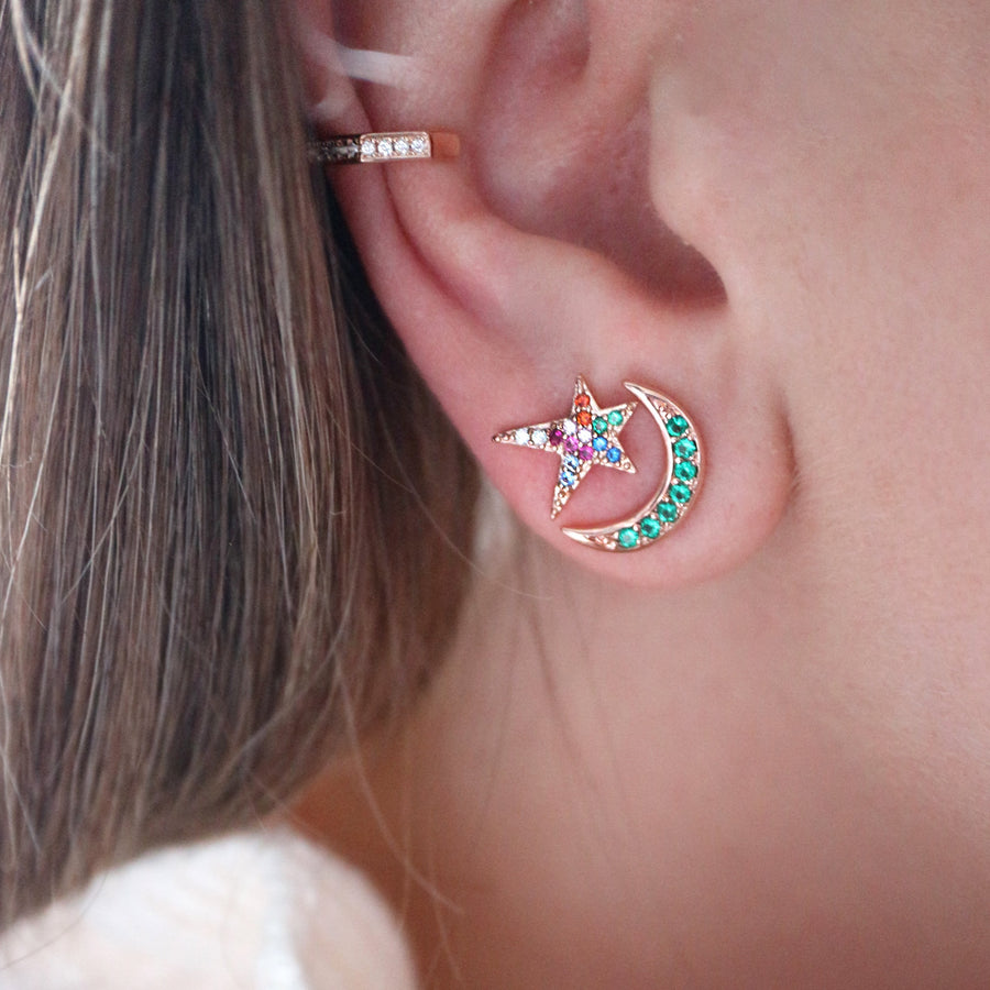 Jewelled Moon Crescent Earrings