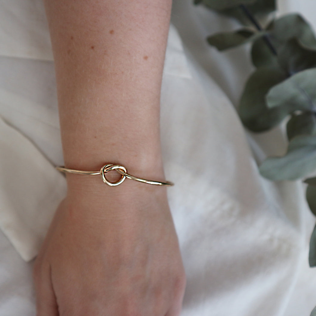 Infinity Knot Bangle Botanical Bridesmaid Gift