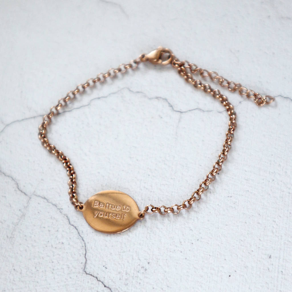 'Be True To Yourself' Engraved Disc Bracelet