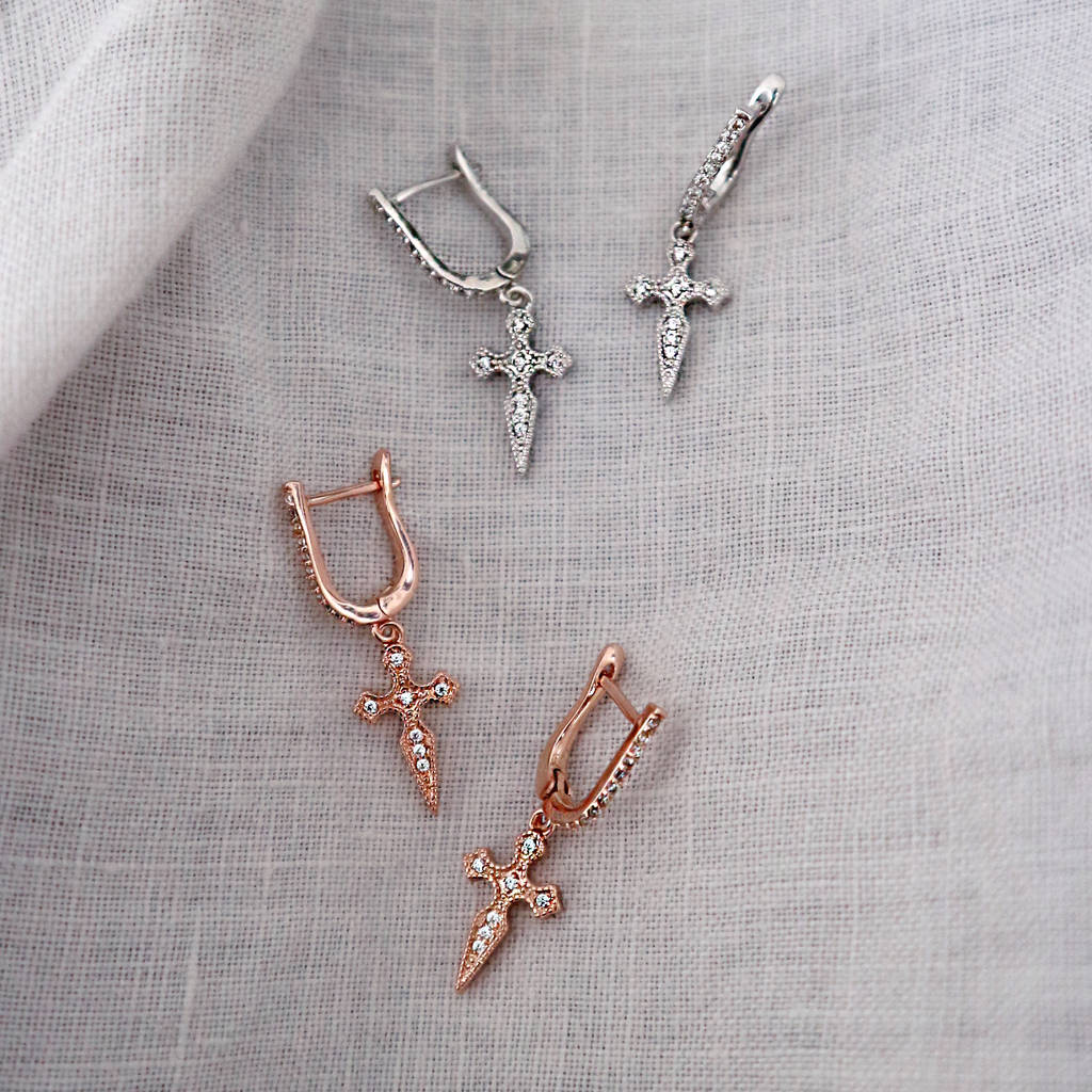 Gemstone Cross Drop Earrings