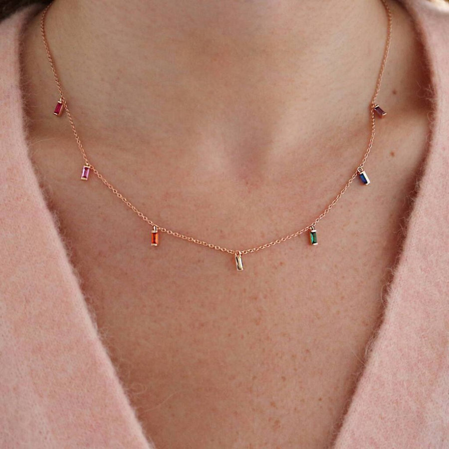 Classic Rainbow Layered Necklace Set