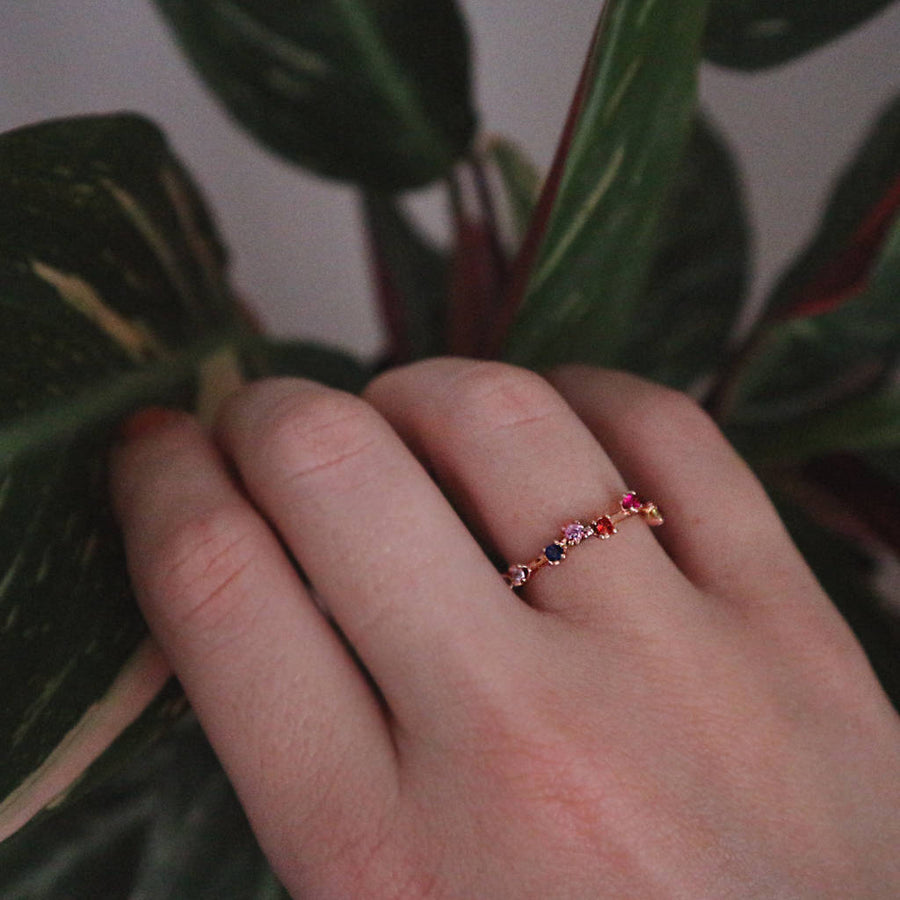 Rainbow Gemstone Garland Ring