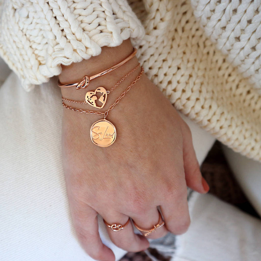 'So Loved' Engraved Coin Bracelet
