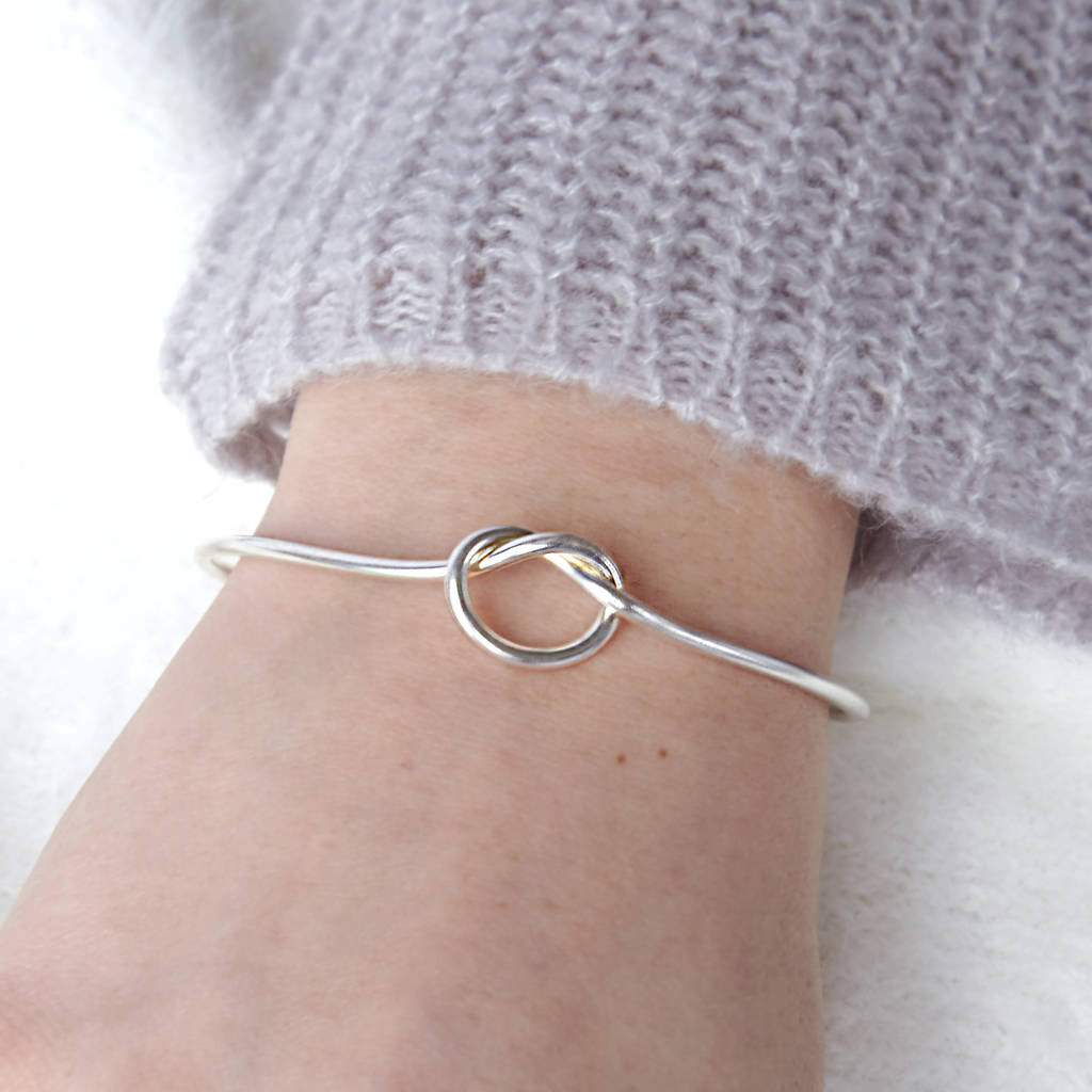 Sterling Silver Infinity Knot Bangle Bridesmaid Gift