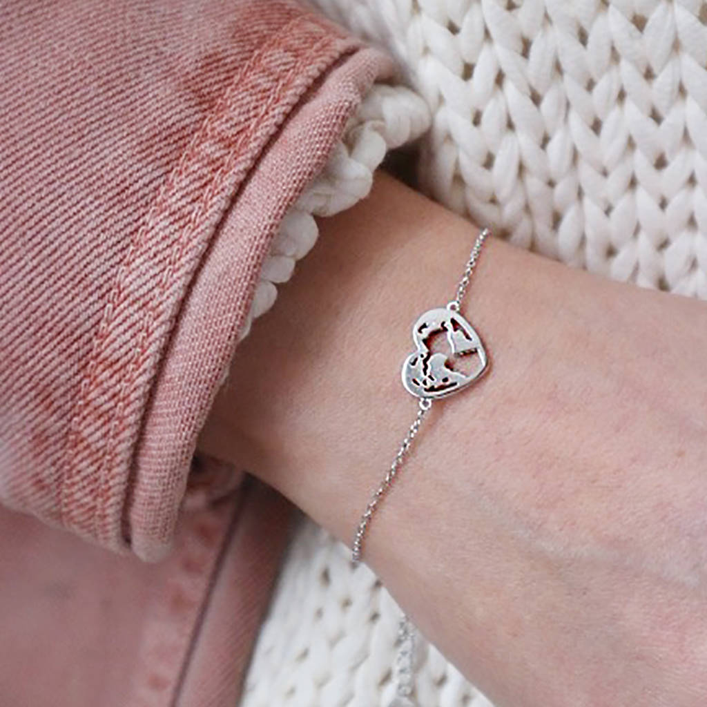 World Map Heart Bracelet