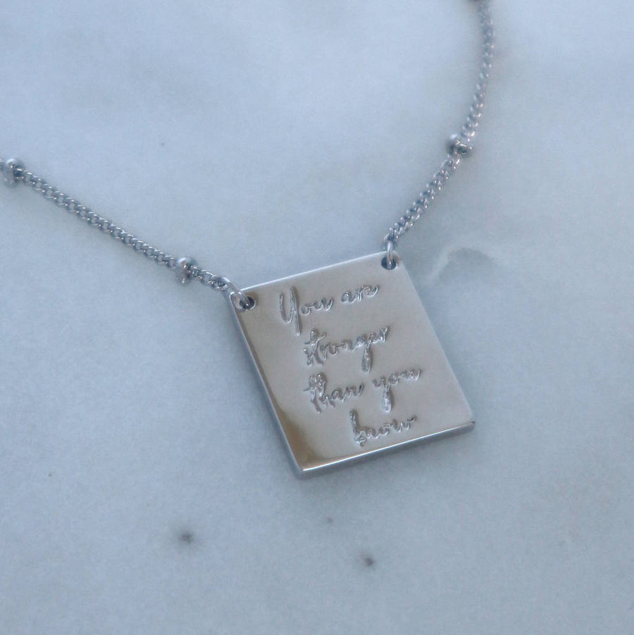 'You Are Stronger Than You Know' Tag Necklace