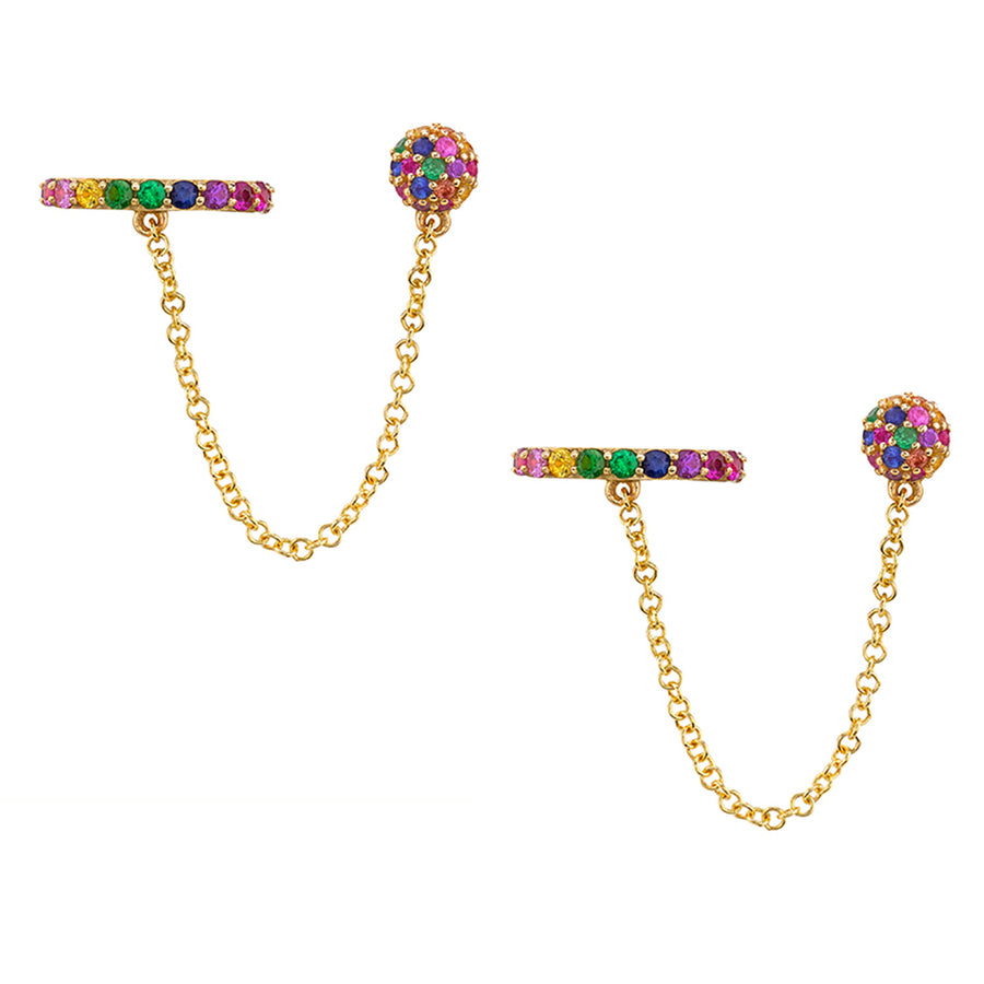 Rainbow Chain Cuff Earrings