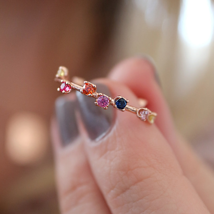 Rainbow Gemstone Garland Ring - PRE-ORDER