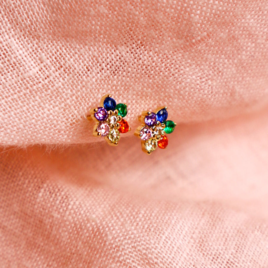 Rainbow Flower Stud Earrings