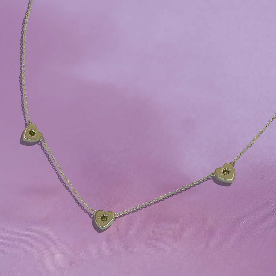 Triple Peridot Heart Charm Necklace
