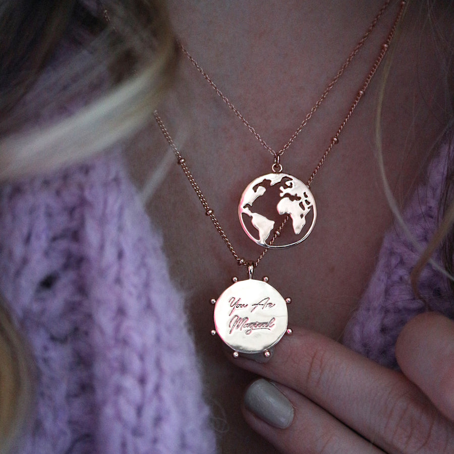 World Map Coin Necklace