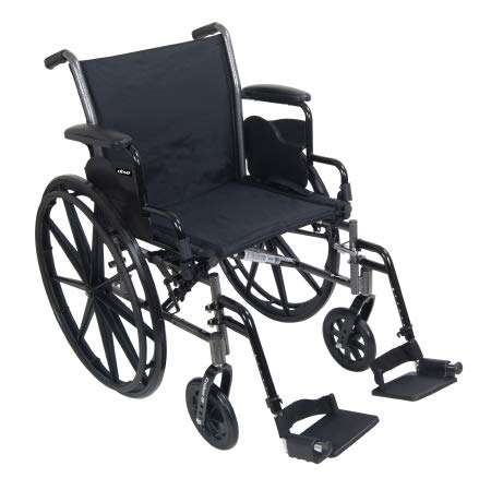 31824201 Lightweight Wheelchair McKesson Dual Axle Flip Back, Padded, Removable Arm Style Mag Wheel Black 18 Inch Seat Width 300 lbs. Weight Capacity