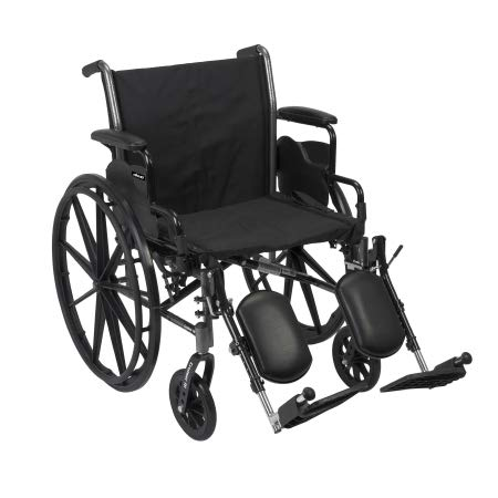 32074201 Lightweight Wheelchair McKesson Dual Axle Flip Back, Padded, Removable Arm Style Mag Wheel Black 20 Inch Seat Width 300 lbs. Weight Capacity