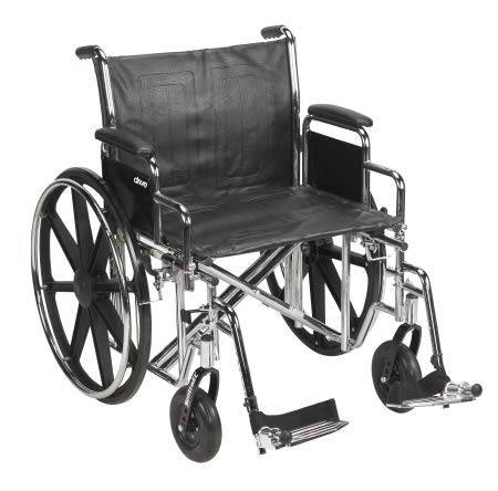 22364201 Wheelchair McKesson Dual Axle Padded, Removable Arm Style Composite Wheel Black 22 Inch Seat Width 450 lbs. Weight Capacity