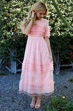 Load image into Gallery viewer, Pink Ruffle Midi Dress - Shop Floresa Trendy Women's Clothing